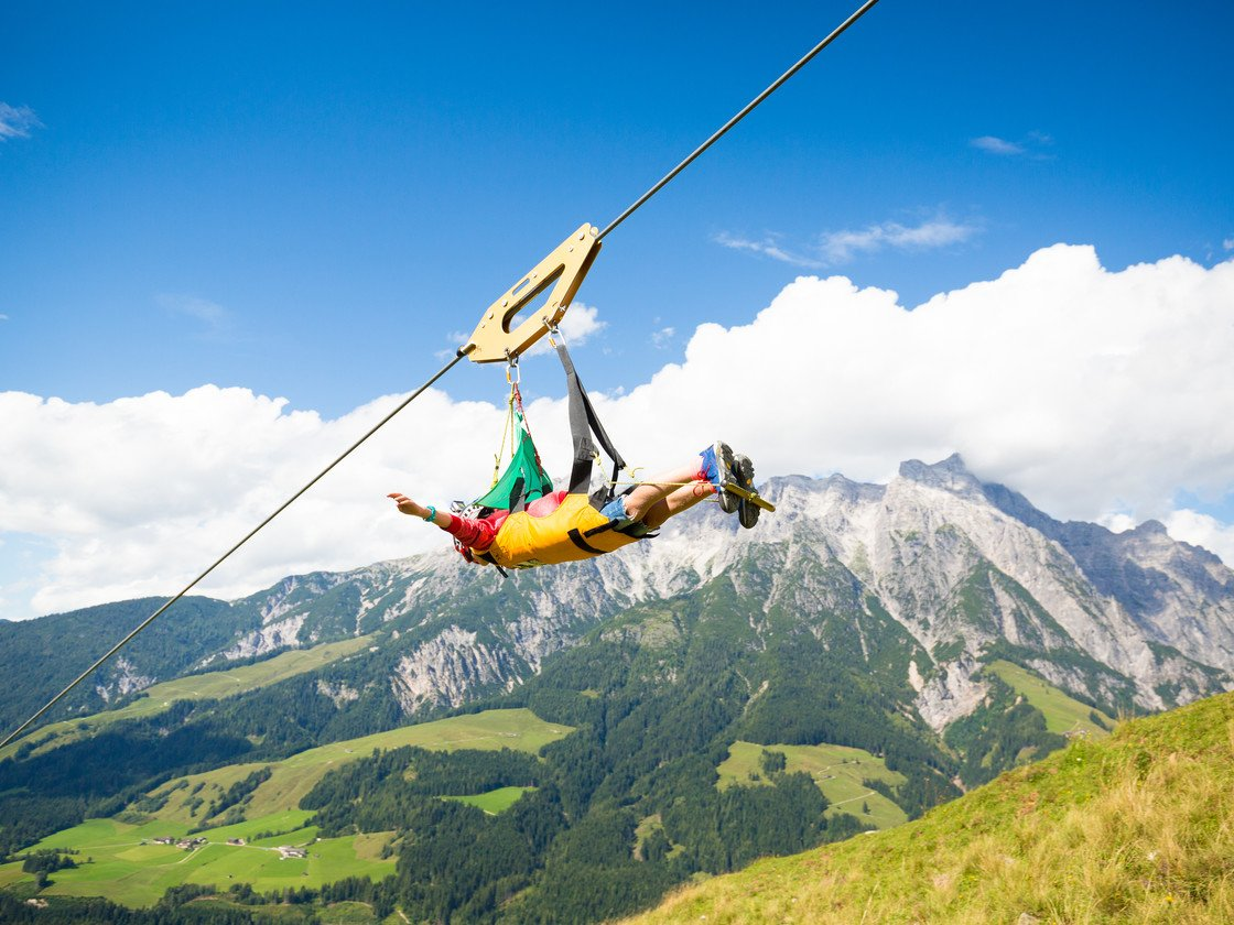 Sommer-Shooting Sommer Flying Fox XXL Leogang  | © Tom Bause